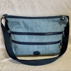 Kipling Classic Denim Multi Zip Crossbody Bag